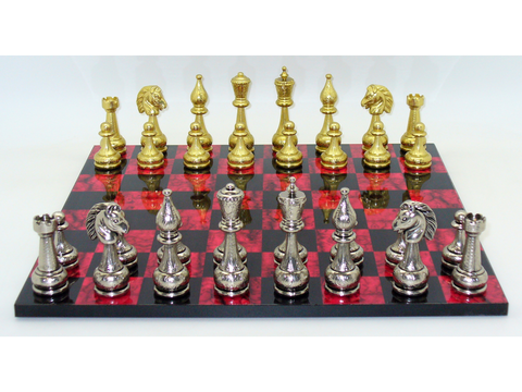Staunton Metal Chessmen with Black and Red Decoupage Chess Board