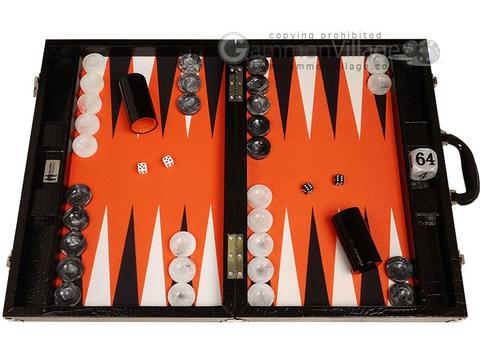 Wycliffe Brothers® 21-inch Tournament Backgammon Set - Black Croco Case with Orange Field - Gen III