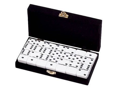 DOUBLE 6 White Dominoes Set - With Spinners - Velvet Box