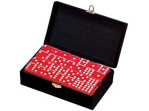 DOUBLE 9 Red Dominoes Set - With Spinners - Velvet Box