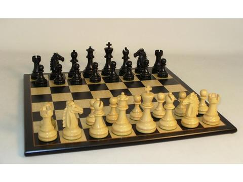 Mustang Black Chessmen with Black Birdseye Maple Chess Board