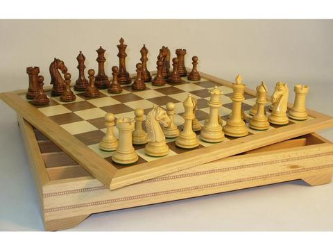 Chess Set Camelot Sheesham Chessmen on Wood Chest Board