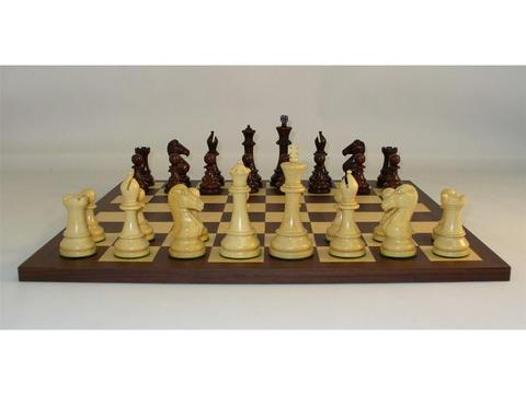 New Classic Chess Set with Rosewood Chessmen and Dark Rosewood Chess Board