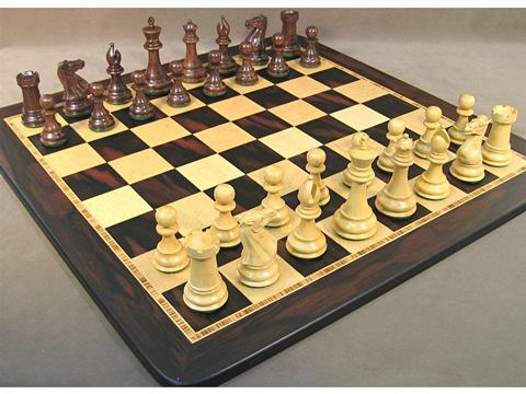 Exclusive Chess Set with Sheesham Chessmen and Ebony/Birdseye Chess Board