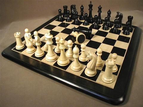 Chetak Ebony Chessmen with Ebony Wood Chess Board