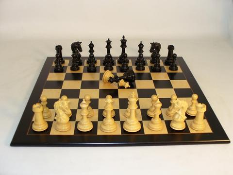 Ebony Parthenon Wood Chessmen with Black Birdseye Wooden Chess Board