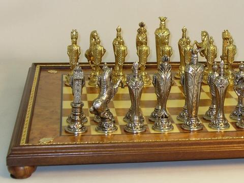 Renaissance Metal Chessmen with Elm Burlwood Chess Board