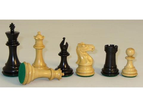 Black Natural Boxwood Chessmen - Triple Weighted