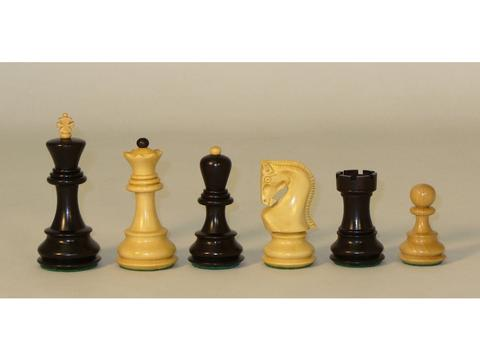 Black Natural Boxwood Old Russian Chessmen - Double Weighted
