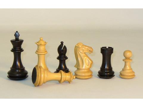 Black Natural Boxwood Chessmen - Broad Base - Triple Weighted - Leather Pads - Double Queens