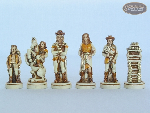 The Wild West Chessmen with Italian Brass Chess Board with Storage