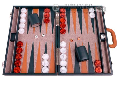 Aries™ Professional Leather Backgammon Set - Green and Tan Case with Beige Field