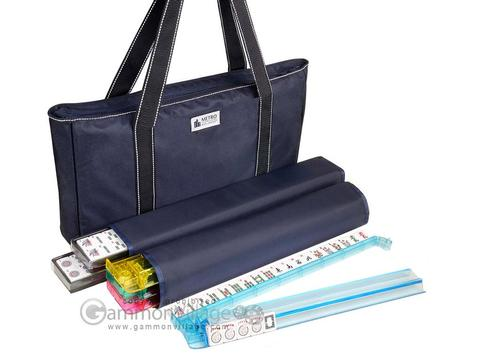Metro Mah Jongg Set - White Tiles - All-In-One Rack/Pushers - Blue Nylon Soft Bag