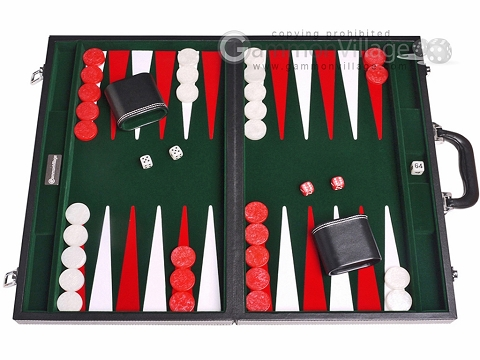 18-inch Leatherette Backgammon Set - Inlaid Velvet Field - Black/Green