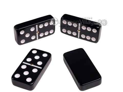 Silverman & Co. Double 6 Large Black Domino Set - Red Case