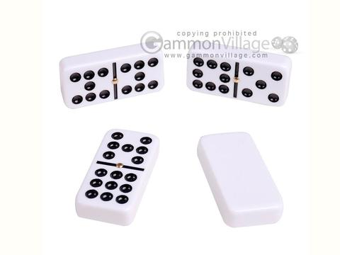Silverman & Co. Double 9 Large White Domino Set - Black Case