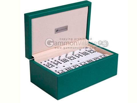 Silverman & Co. Double 9 Large White Domino Set - Green Case