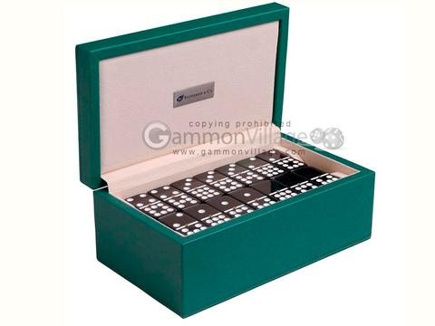 Silverman & Co. Double 9 Large Black Domino Set - Green Case