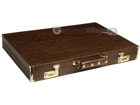 GammonVillage Tournament Backgammon Set - Champion Class - Brown Case - Beige Field - Green/Brown Points