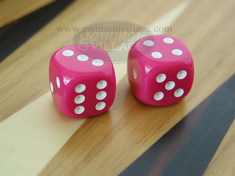 Rounded High Gloss Solid Dice - Pink (1 pair)