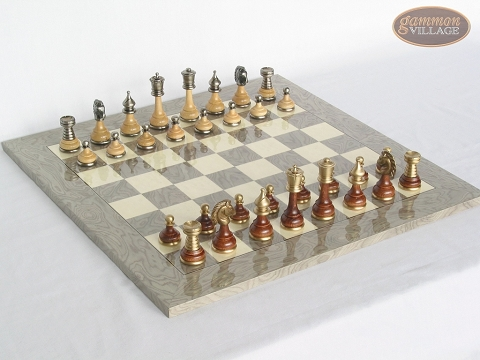 Champion Brass Staunton Chessmen with Spanish Lacquered Board [Grey]