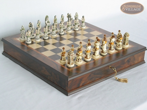 The Wild West Chessmen with Italian Chess Board with Storage [Small]