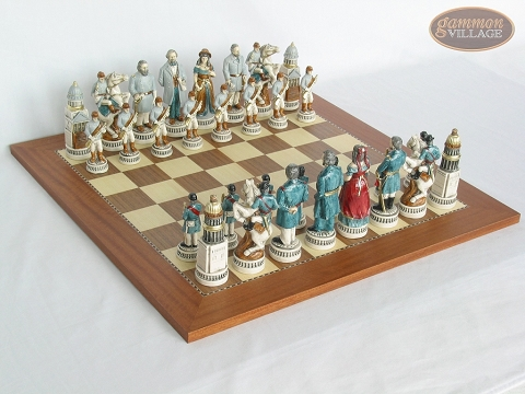 Confederate vs. Union Chessmen with Spanish Traditional Chess Board [Extra Large]