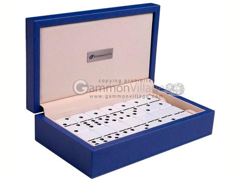 Silverman & Co. Double 6 Large White Domino Set - Blue Case