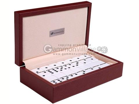 Silverman & Co. Double 6 Large White Domino Set - Brown Case