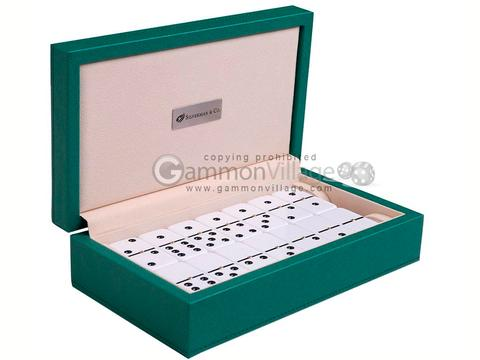 Silverman & Co. Double 6 Large White Domino Set - Green Case