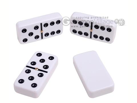 Silverman & Co. Double 6 Large White Domino Set - Orange Case