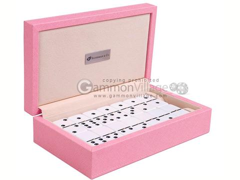Silverman & Co. Double 6 Large White Domino Set - Pink Case