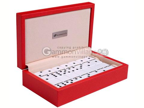 Silverman & Co. Double 6 Large White Domino Set - Red Case