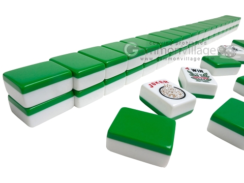 Mah Jong Tiles - White with Green Back - 166 Tiles + 2 Black Trays