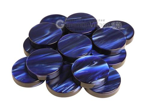 Backgammon Checkers - Pearled Acrylic - Dark Blue - Roll of 15