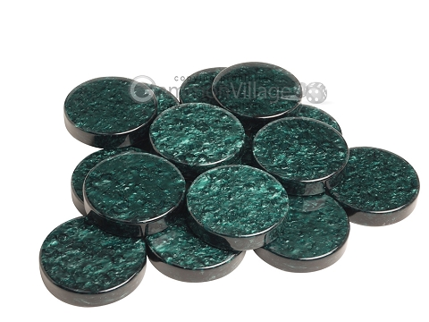 Backgammon Checkers - Grizzly Acrylic - Green - Roll of 15