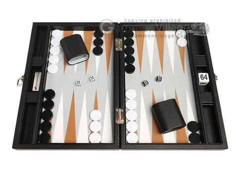 13-inch Premium Backgammon Set - Black with White and Rum Points