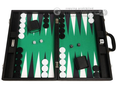 19-inch Premium Backgammon Set - Black with White and Black Points