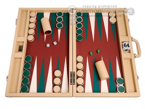 Wycliffe Brothers® 23-inch Backgammon Set with 1.75-inch Nickel Checkers - Tan Case with Brown Field - Prestige Class