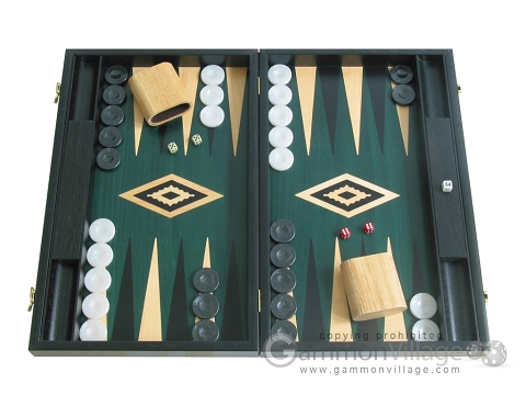 19-inch Black Backgammon Set - Green