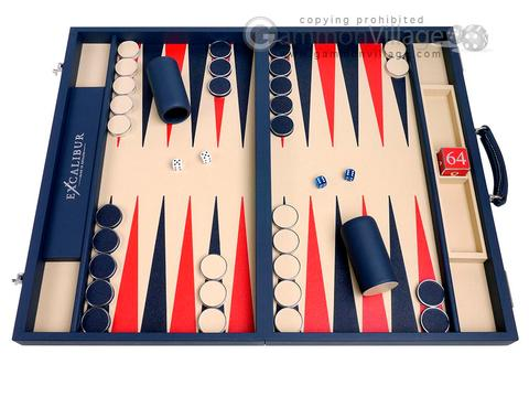 Excalibur Leather Backgammon Set - EXC02 - Suffolk Blue Case with Magnolia Field