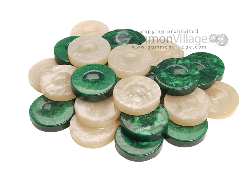 Backgammon Checkers - High Gloss Acrylic - Green & Ivory (1 1/2in. Dia.) - Set of 30