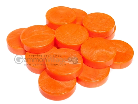 Backgammon Checkers - Mother Of Pearl - Plastic - Orange - Roll of 15
