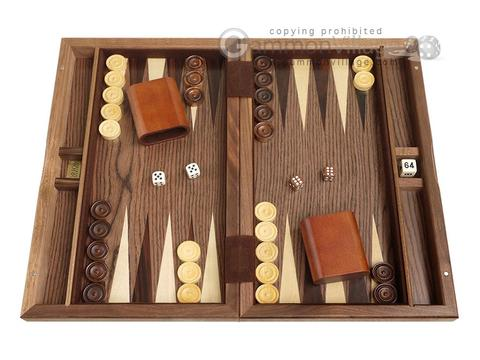 15-inch Wood Backgammon Set - Diamond Inlay