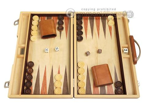 15-inch Wood Backgammon Set - Olive Burl