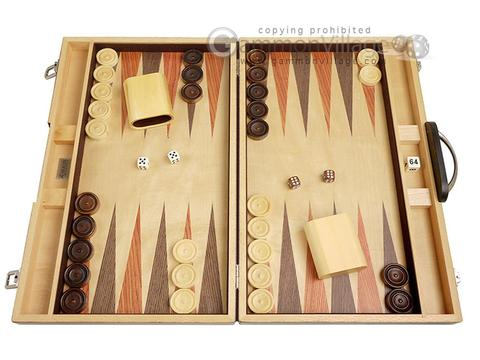 18-inch Wood Backgammon Set - Olive Burl