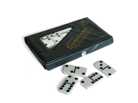 DOUBLE 6 Dominoes White Tiles with Black Dots and Spinners in Vinyl Case