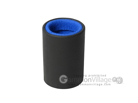 Professional Leather Backgammon Dice Cup - Round - Blue Felt
