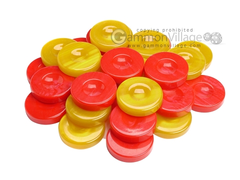Backgammon Checkers - High Gloss Acrylic - Red & Yellow (1 1/2in. Dia.) - Set of 30