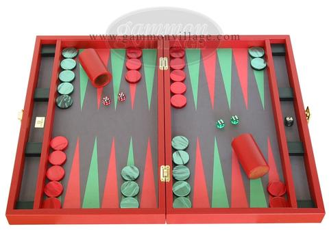 Zaza & Sacci® Leather/Microfiber Backgammon Set - Model ZS-425 - Red